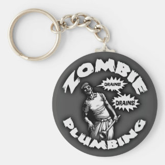 Zombie Plumbing Basic Round Button Key Ring