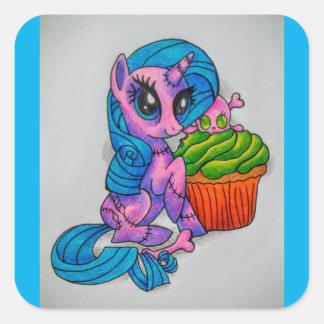 Zombie pony square sticker