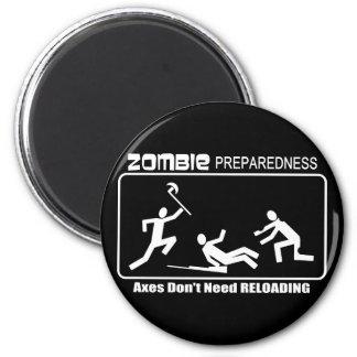 Zombie Preparedness Axes Reloading WHITE Design 6 Cm Round Magnet