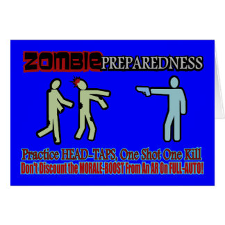 Zombie Preparedness Head Shot Design Greeting Card
