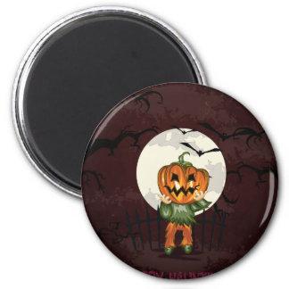 Zombie pumpkins head in graveyard Halloween 6 Cm Round Magnet