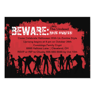 "Zombie Red Halloween Party Invitation 5"" X 7"" Invitation Card"