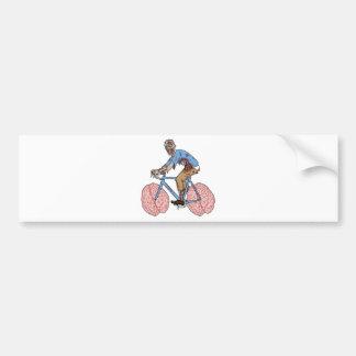 Zombie Riding Bike With Brain Wheels Bumper Sticker