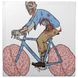 Zombie Riding Bike With Brain Wheels Napkin