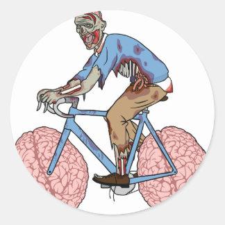 Zombie Riding Bike With Brain Wheels Round Sticker
