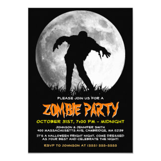 Zombie Rises Apocalypse Party Full Moon Halloween Card