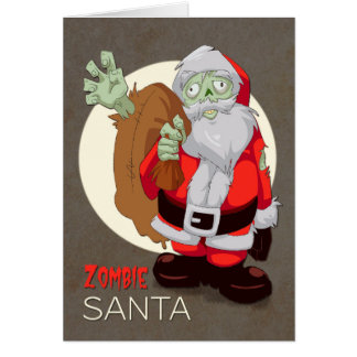 Zombie Santa Brings Presents for Christmas Card
