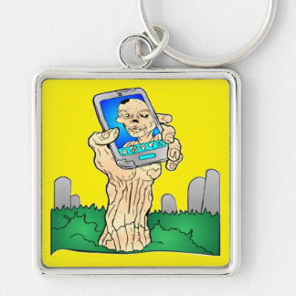 Zombie Selfie Pic Silver-Colored Square Key Ring
