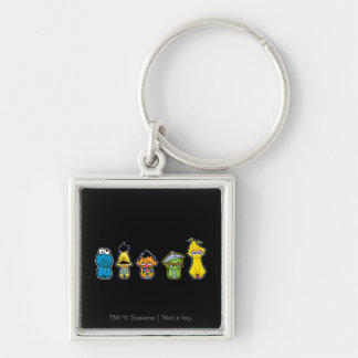 Zombie Sesame Street Characters Silver-Colored Square Key Ring