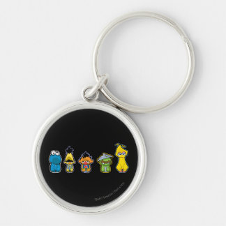Zombie Sesame Street Characters Silver-Colored Round Key Ring