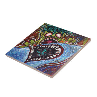 Zombie Shark Fight Ceramic Tile