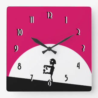 Zombie Silhouette with Full Moon Square Wall Clock