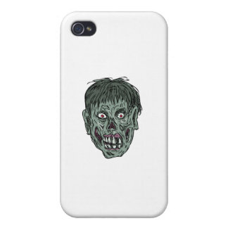 Zombie Skull Head Drawing iPhone 4 Cover
