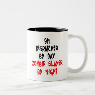 Zombie Slayer 911 Dispatcher Two-Tone Coffee Mug