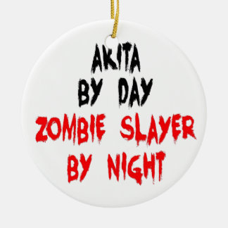Zombie Slayer Akita Dog Ceramic Ornament