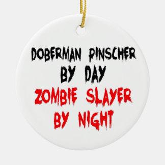 Zombie Slayer Doberman Pinscher Ceramic Ornament