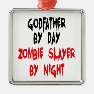 Zombie Slayer Godfather Silver-Colored Square Decoration