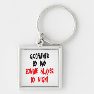 Zombie Slayer Godfather Silver-Colored Square Key Ring