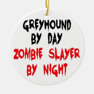 Zombie Slayer Greyhound Dog Round Ceramic Decoration
