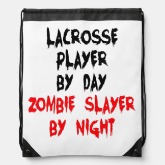 Zombie Slayer Lacrosse Player Drawstring Bags