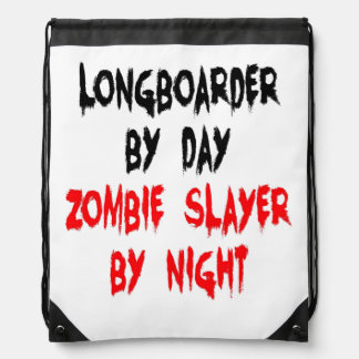 Zombie Slayer Longboarder Drawstring Bag
