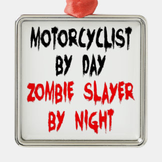 Zombie Slayer Motorcyclist Metal Ornament
