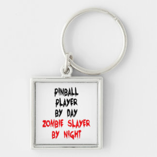 Zombie Slayer Pinball Player Silver-Colored Square Key Ring