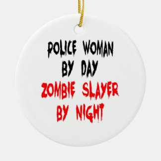 Zombie Slayer Police Woman Round Ceramic Decoration