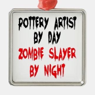 Zombie Slayer Pottery Artist Silver-Colored Square Decoration