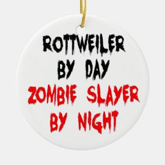 Zombie Slayer Rottweiler Dog Ceramic Ornament