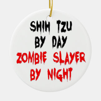 Zombie Slayer Shih Tzu Dog Ceramic Ornament