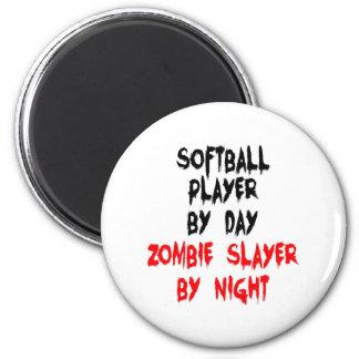 Zombie Slayer Softball Player 6 Cm Round Magnet