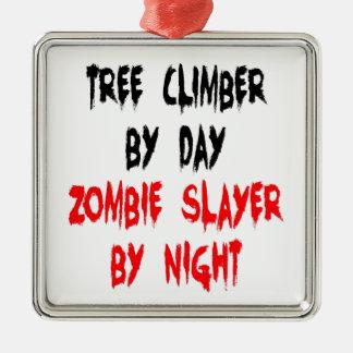 Zombie Slayer Tree Climber Metal Ornament