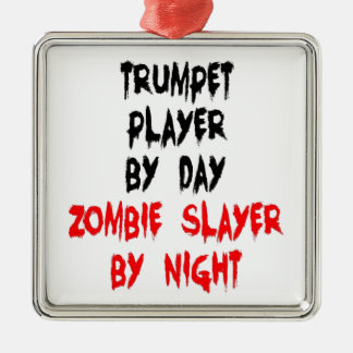 Zombie Slayer Trumpet Player Metal Ornament