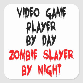 Zombie Slayer Video Game Player Square Sticker