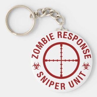 Zombie Sniper Basic Round Button Key Ring