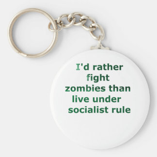 zombie socialism basic round button key ring