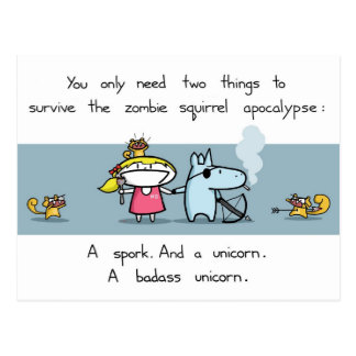 Zombie squirrel apocalypse postcard