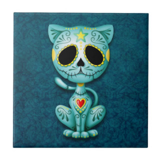 Zombie Sugar Kitten, blue Ceramic Tiles