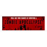 Zombie survival card pack of skinny business cards