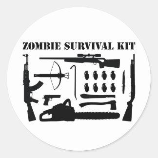 Zombie Survival Kit Round Sticker