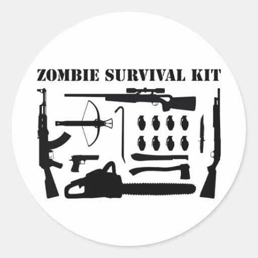 Zombie Survival Kit Round Stickers