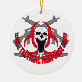 Zombie tactical red ceramic ornament