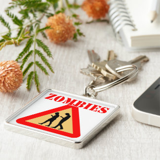 Zombie Teens With Cell Phones Silver-Colored Square Key Ring