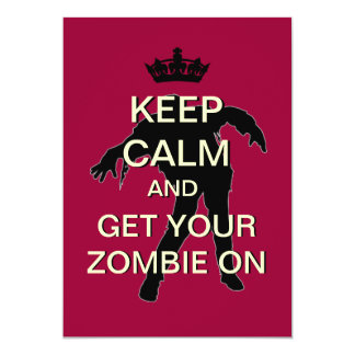 Zombie Theme Party Custom Keep Calm Invitation