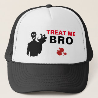 Zombie Treat Me Bro funny Halloween customizable Trucker Hat