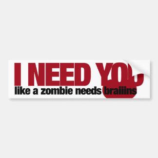 Zombie Valentines Day Bumper Sticker
