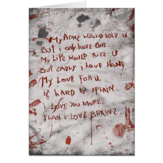 zombie valentines day greeting card