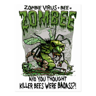 Zombie Virus add Bee equals Zombee Post Cards