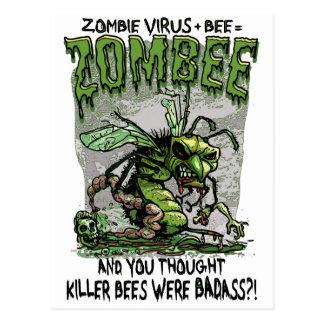 Zombie Virus add Bee equals Zombee Postcard